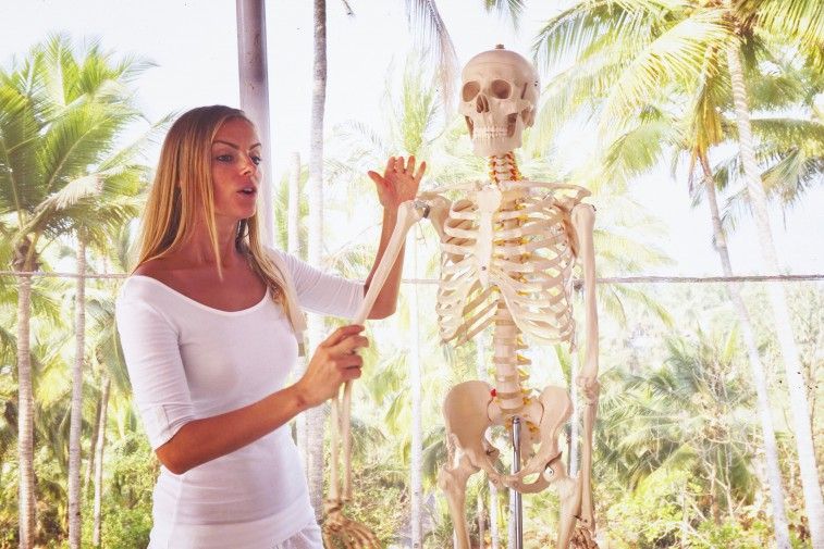 Viktoria teaching Yoga Anatomy. India
